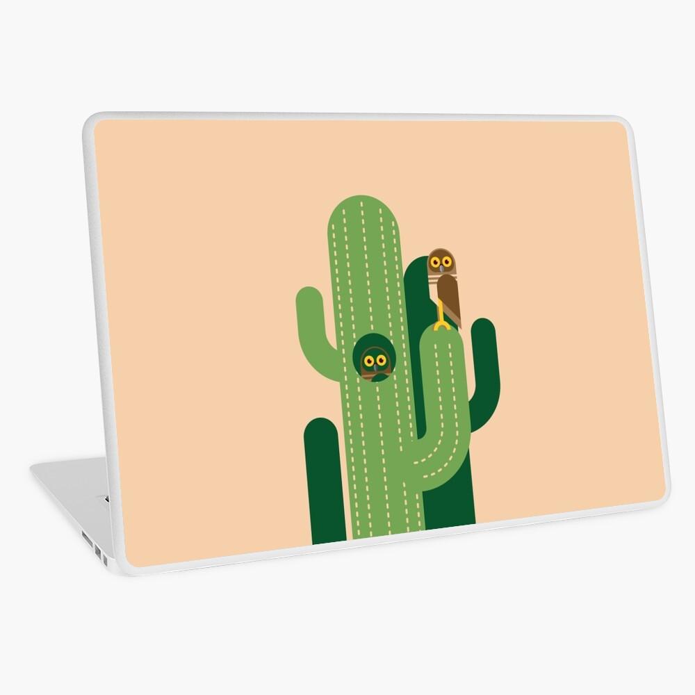Graben von Eulen und Kakteen Vektor-Illustration Laptop Folie