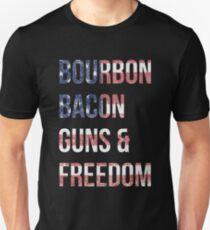 Bourbon Bacon Guns And Freedom Unisex T-Shirt
