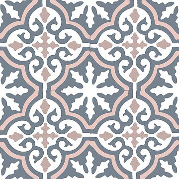 Moroccan traditional geometric mosaic pattern in Grey and Pink by koovox