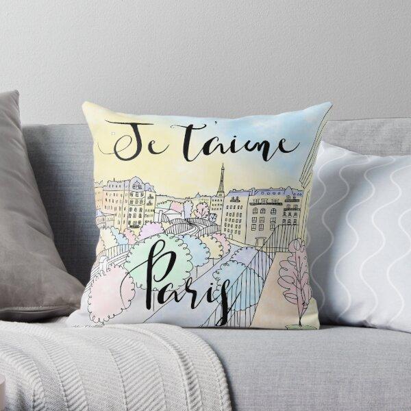 Je t'aime Paris by Alice Monber Throw Pillow