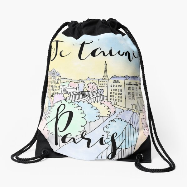 Je t'aime Paris by Alice Monber Drawstring Bag