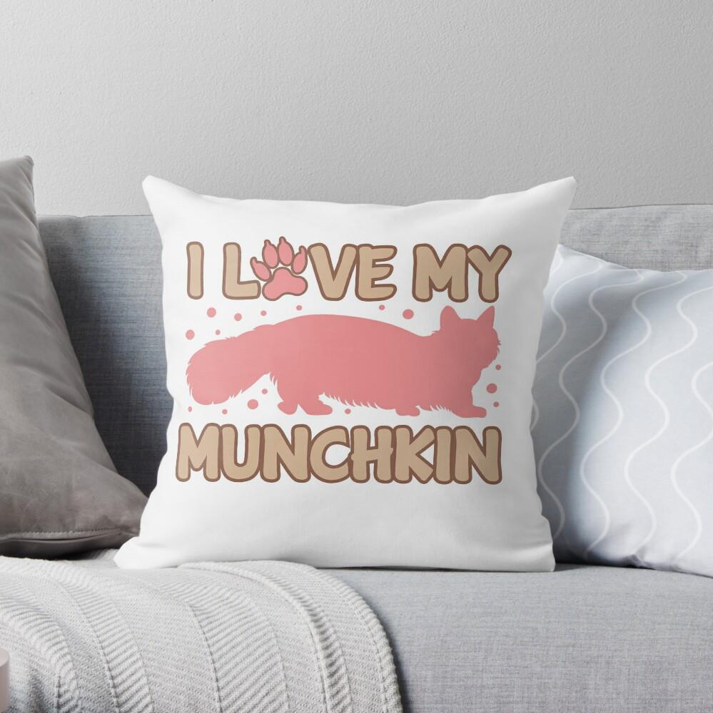 Love My Munchkin Cat  Throw Pillow