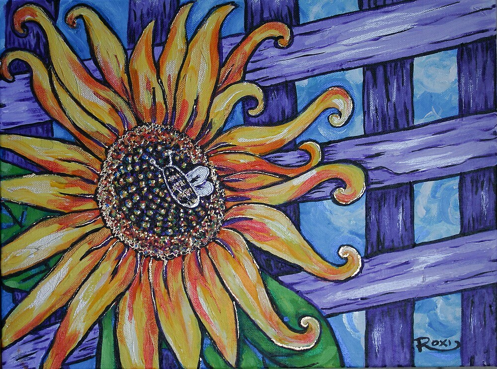 sunflower and lattice by Roxiartwork
