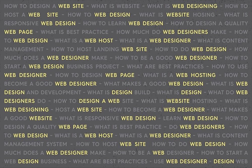 Yellow Web Design Keywords Poster By Alexander Nedviga Redbubble