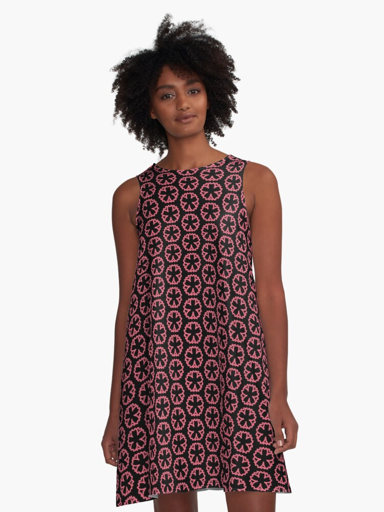 Pink Flower Graphic A-Line Dress Front