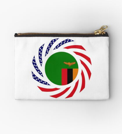 Zambian American Multinational Patriot Flag Series Zipper Pouch