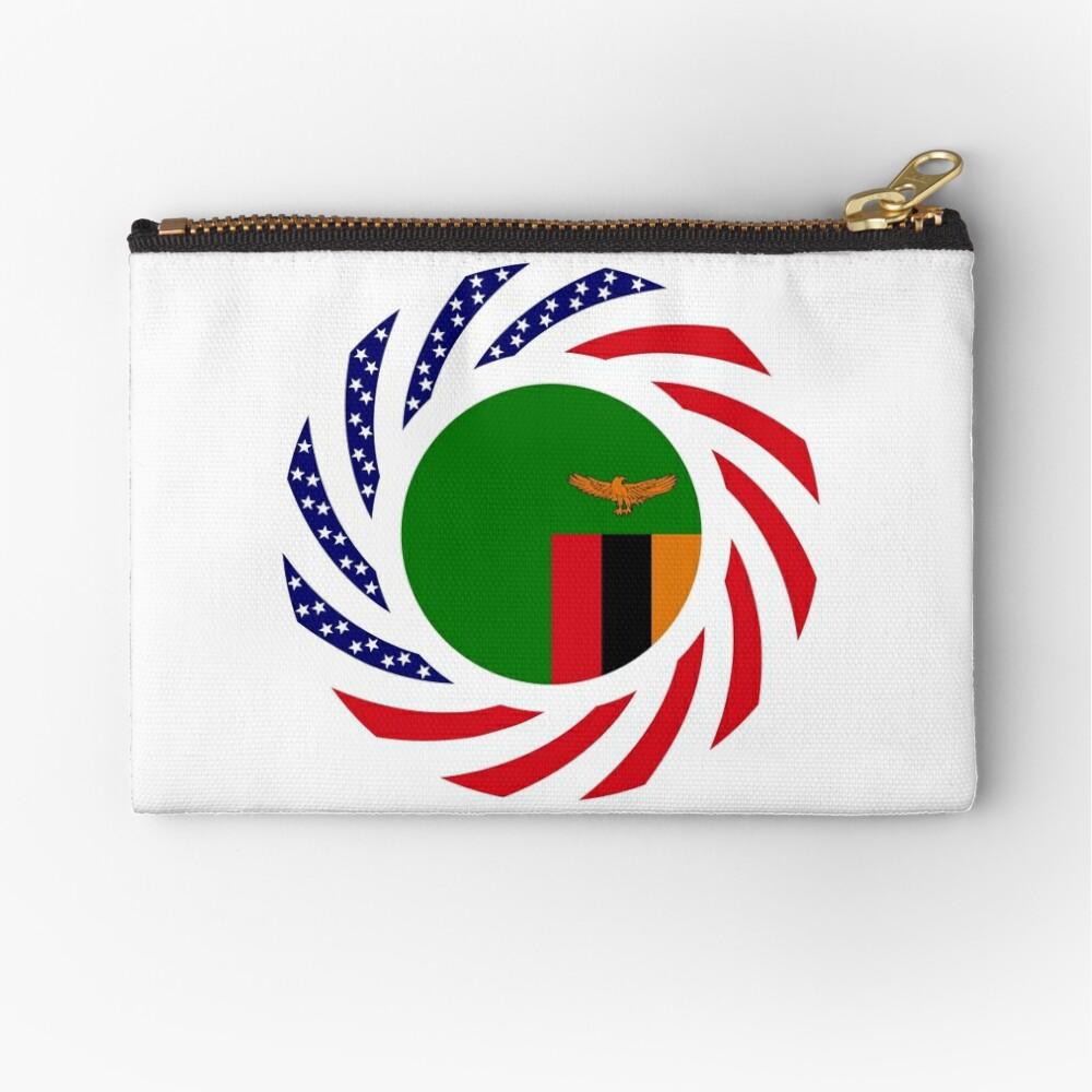 Zambian American Multinational Patriot Flag Series Zipper Pouch