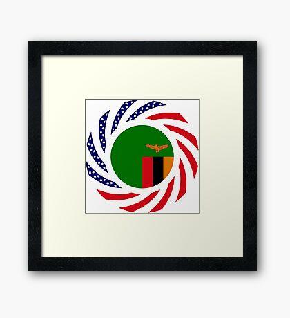 Zambian American Multinational Patriot Flag Series Framed Print