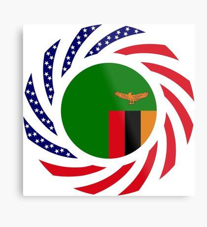 Zambian American Multinational Patriot Flag Series Metal Print