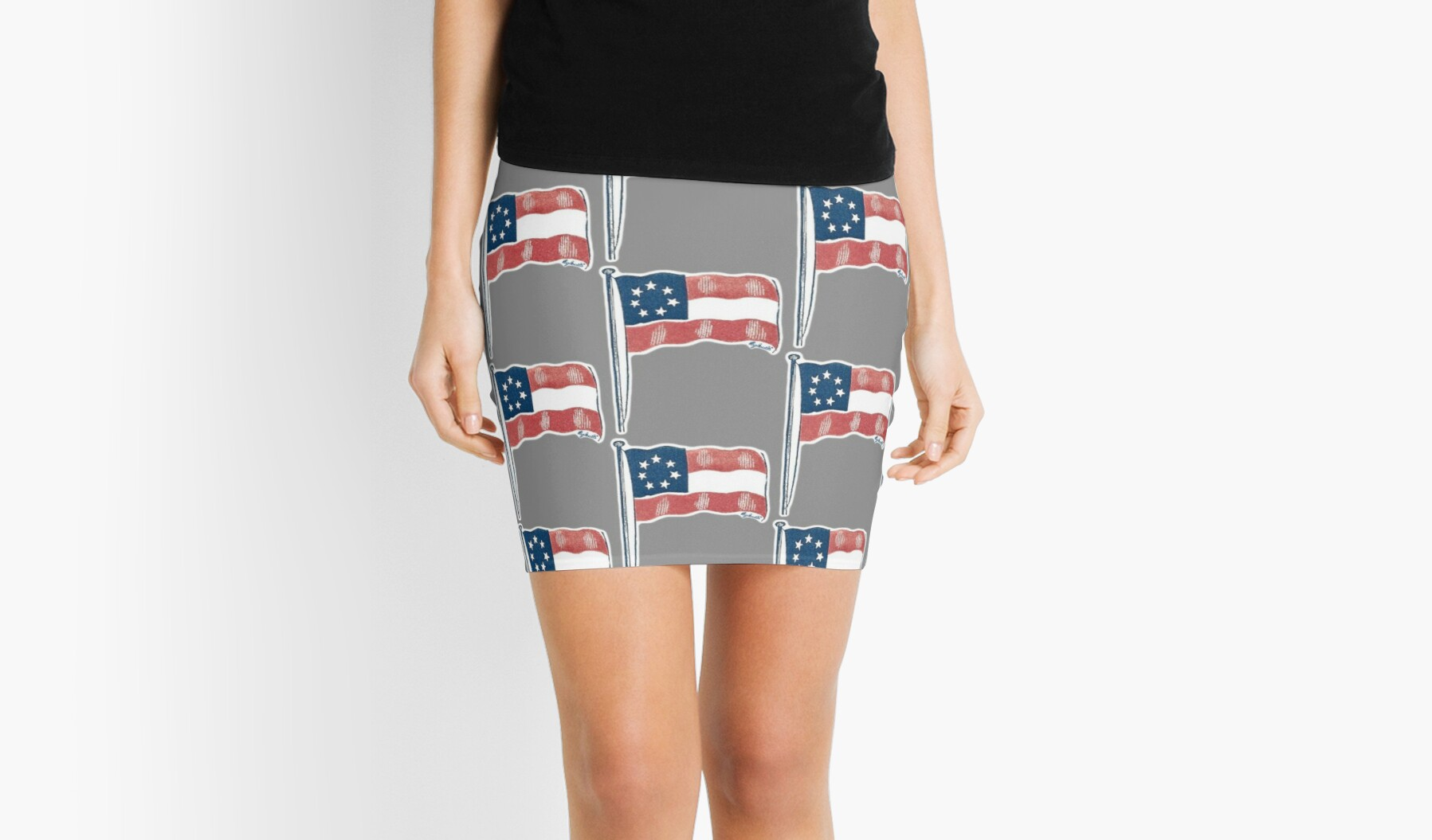 vintage confederate flag 1861 restored design mini skirts by