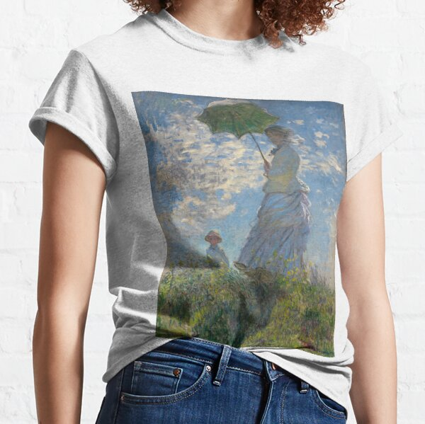 Woman with a Parasol - Madame Monet and Her Son by Claude Monet Classic T-Shirt