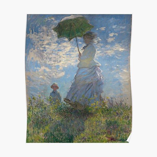 Femme avec un parasol - Madame Monet et son fils par Claude Monet Poster