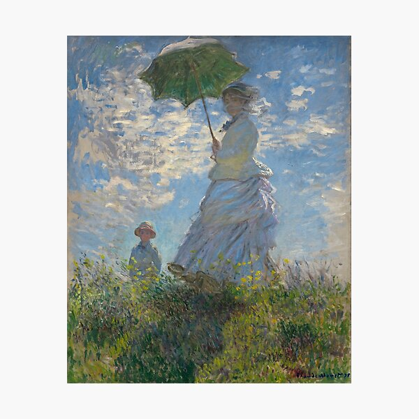 Woman with a Parasol - Madame Monet and Her Son by Claude Monet Photographic Print