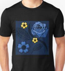 Blue Summer Roses Pattern Unisex T-Shirt