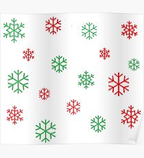 Red and Green Snowflakes Poster