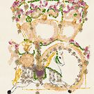 The History of Carousel Horses Oil Painting of a Flower Carousel with Jeweled Carousel Horse by Monica Michelle