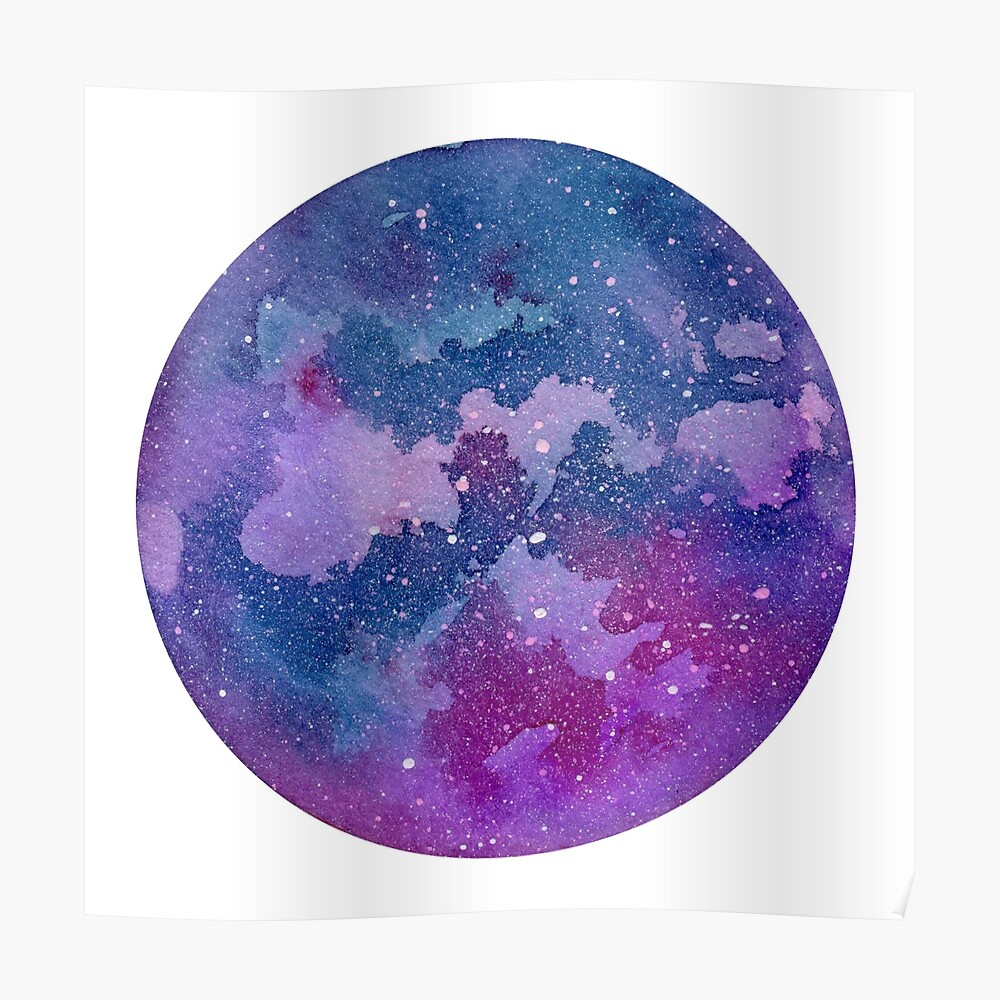 Watercolor Abstract Space In Circle Shape Isolated On White Background Abstract Watercolor Galaxy Painting For Postcards Banners And Posters