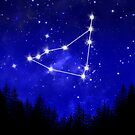Capricorn Constellation Forest Blue Galaxy by julieerindesign