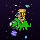 Cat And Pizza Riding Triceratops In Space by jezkemp