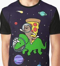 Katze und Pizza Reiten Triceratops im Raum Grafik T-Shirt