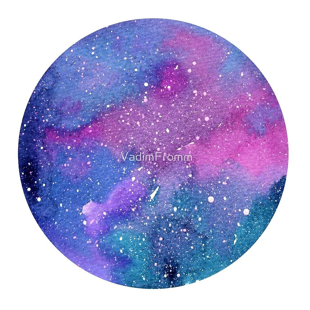Aquarelle espace abstrait en forme de cercle isolé sur fond blanc. Peinture  de galaxie Aquarelle abstraite pour cartes postales, bannières et affiches.  » par VadimFromm | Redbubble