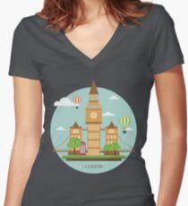 London Tower Bridge Women's Fitted V-Neck T-Shirt
