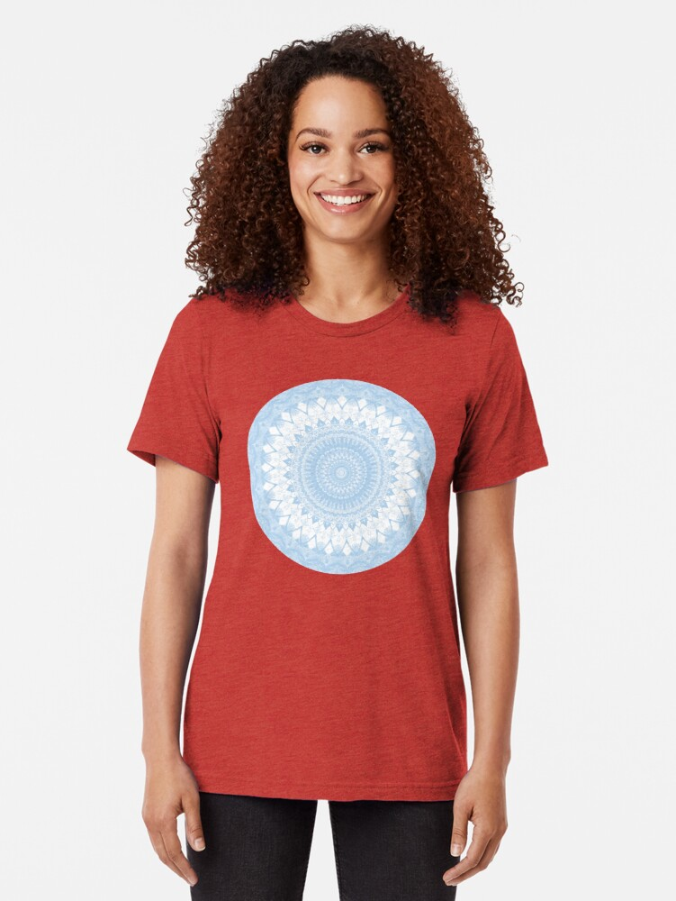 Alternate view of Baby Blue Boho Mandala Tri-blend T-Shirt