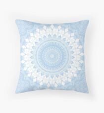 Baby Blue Boho Mandala Throw Pillow