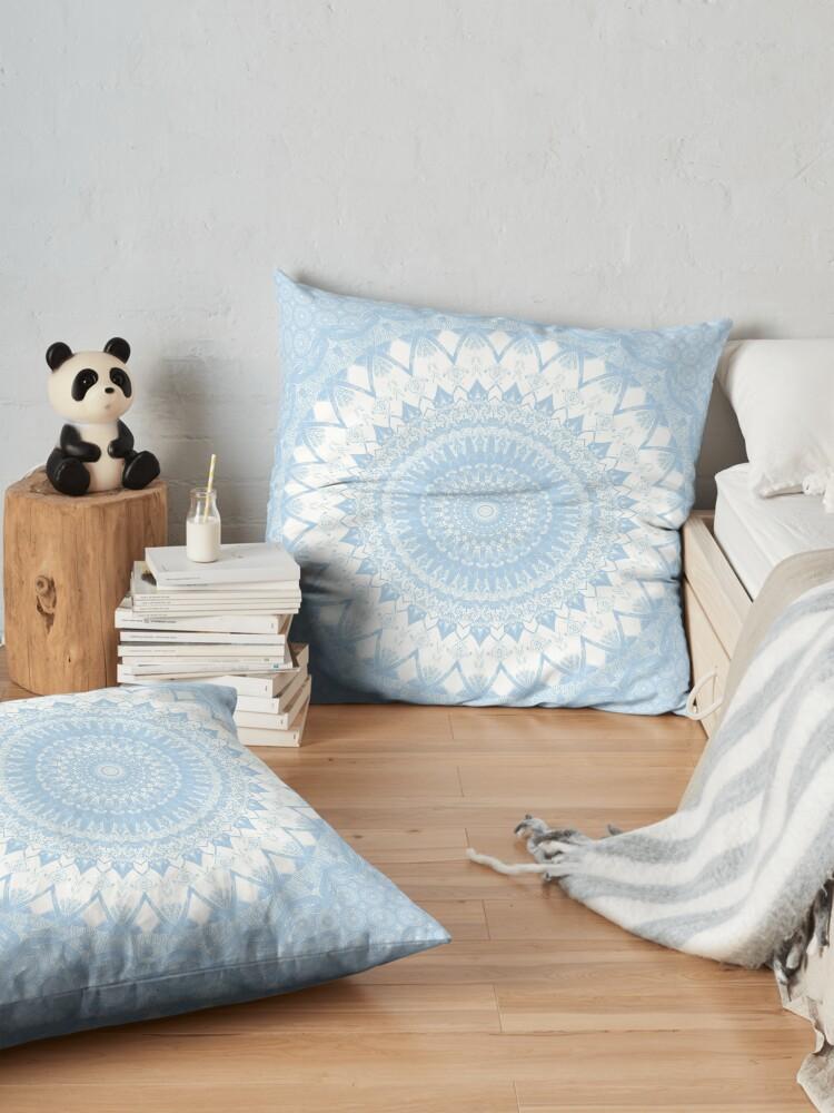 Alternate view of Baby Blue Boho Mandala Floor Pillow