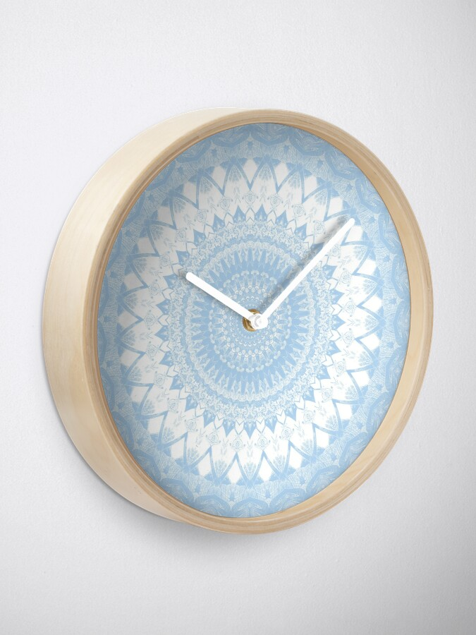 Alternate view of Baby Blue Boho Mandala Clock
