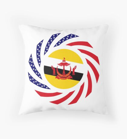 Bruneian American Multinational Patriot Flag Series Throw Pillow