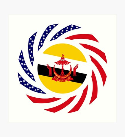Bruneian American Multinational Patriot Flag Series Art Print