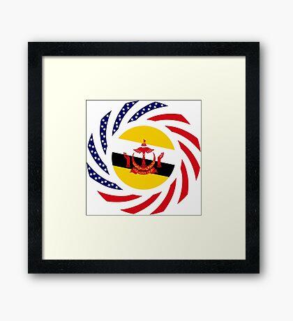 Bruneian American Multinational Patriot Flag Series Framed Print
