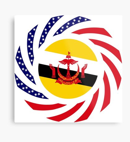 Bruneian American Multinational Patriot Flag Series Metal Print