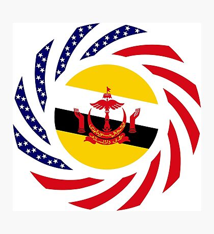 Bruneian American Multinational Patriot Flag Series Photographic Print