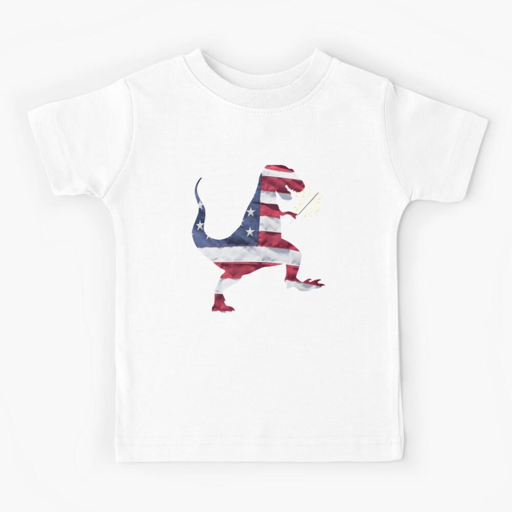 American Flag Patriotic T-Rex Dinosaur Fourth of July Design Kids T-Shirt