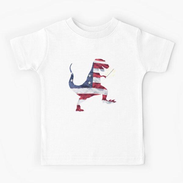 Dinosaurio T-Rex patriótico de la bandera americana Diseño del cuatro de julio Camiseta para niños