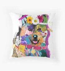 Shiba Inu Mixed Media Collage Throw Pillow