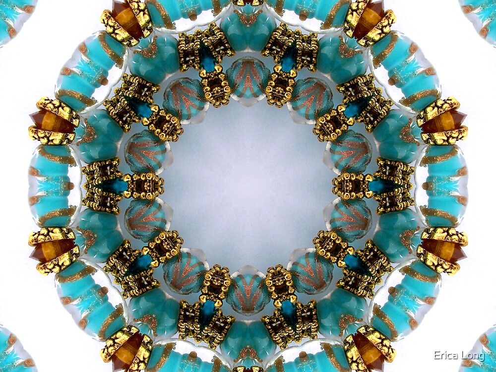 Aqua and Gold Beads Kaleidoscope by Erica Long