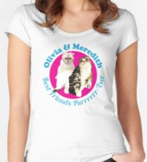 Olivia & Meredith Best Friends Purrrever Women's Fitted Scoop T-Shirt