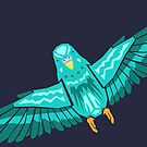 Teal Budgie Fly Away Home by Megan Pawlak