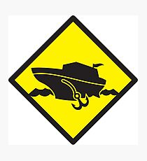 DANGER warning sign Cruise liner boat crossing Photographic Print