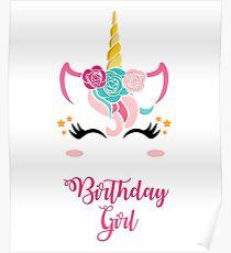 Einhorn Geburtstag Shirt Geburtstag Mädchen Einhorn Outfit Geschenk Poster