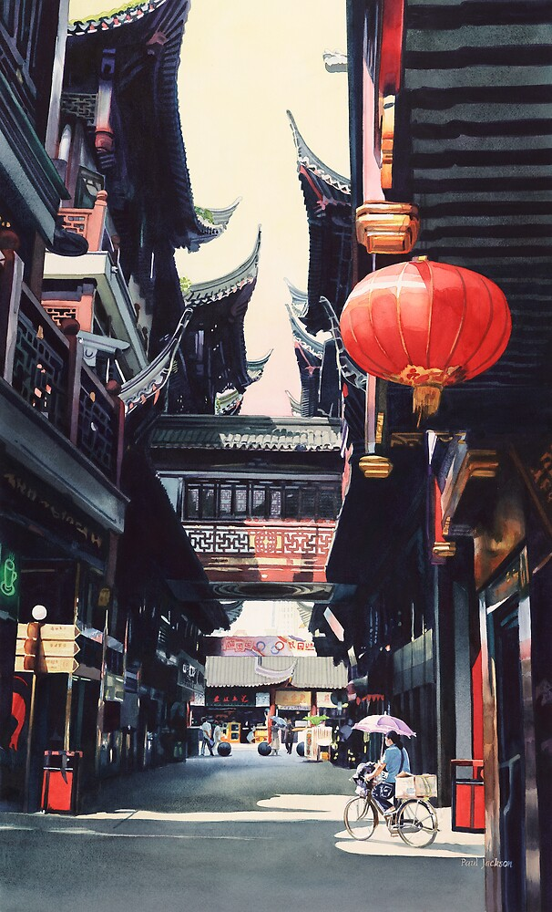 """Shanghai Market"" Watercolor by Paul Jackson"