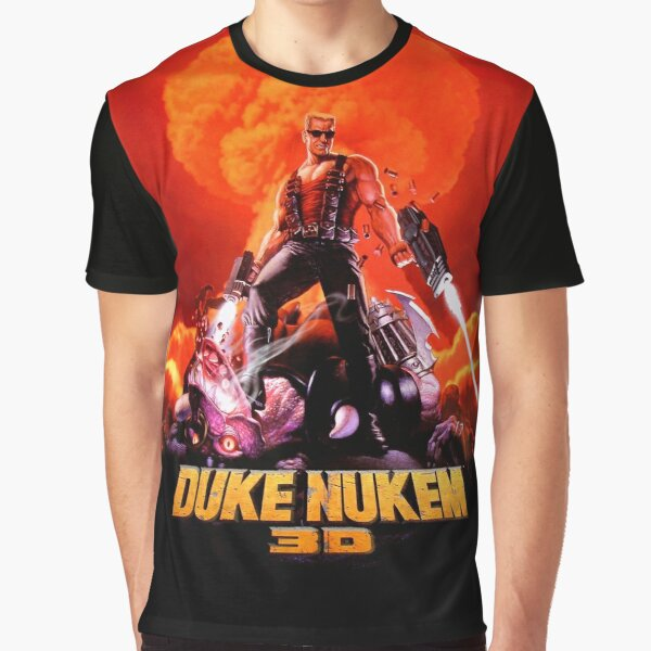 Duke Nukem 3D retro game print (High Contrast) Graphic T-Shirt