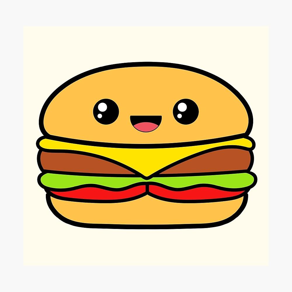 Burger Cute Kawaii Food Metal Print By Awesomekawaii Redbubble