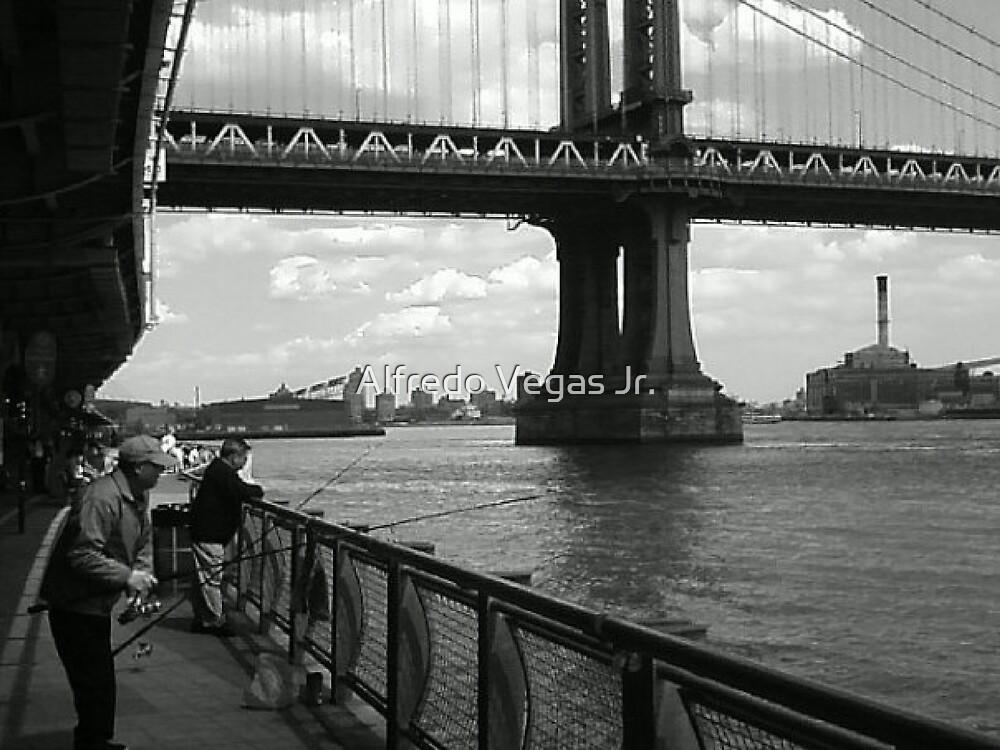 Fishing by the Manhattan Bridge by Alfredo Vegas Jr.