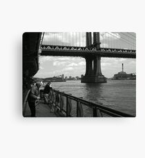 Lienzo Fishing by the Manhattan Bridge