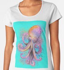 Pieuvre violette sur fond turquoise T-shirt premium femme