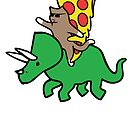 Cat And Pizza Riding Triceratops by jezkemp